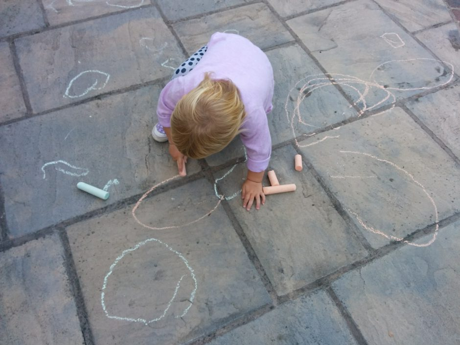 Drawing Chalk on the Path